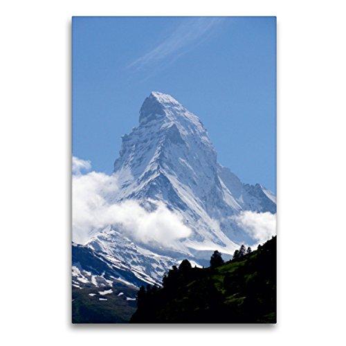 Premium Textil-Leinwand 60 x 90 cm Hoch-Format Wolkenstimmung am Matterhorn - Zermatt | Wandbild, HD-Bild auf Keilrahmen, Fertigbild auf hochwertigem Vlies, Leinwanddruck von Susan Michel