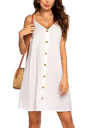 UNibelle Damen Ärmelloses Strandkleid Sommerkleid Tank Kleid Ausgestelltes Trägerkleid Knielang