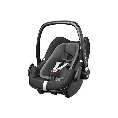 Maxi-Cosi Pebble Plus Babyschale, sicherer Gruppe 0+ i-Size Kindersitz (0-13 kg), nutzbar ab der Geburt bis ca. 12 Monate, passend für FamilyFix One Basisstation, black diamond