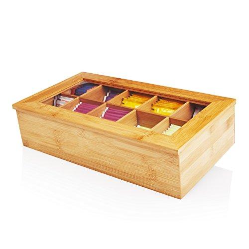 Lumaland Cuisine Caja de te de bambu con 10 Compartimentos de Aprox 36,7 x 20 x 9 cm Material sostenible practico y Decorativo
