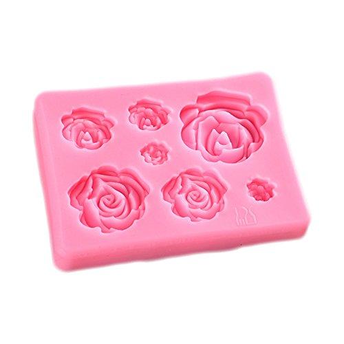 Fablcrew Moules silicone patisserie 7 fleurs roses moule à fondant Moule de cuisson en silicone Cuisine de moule