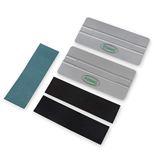 FOSHIO Automotive Vinyl Wraps Grey 2PCS 6Inch Card Squeegee with 3pcs Fabric Squeegee Felt