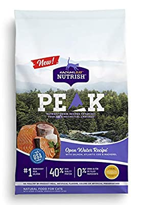 Rachael Ray Nutrish PEAK Natural Dry Cat Food, Open Water Recipe with Salmon, Atlantic Cod & Mackerel, 3 Pounds, Grain Free
