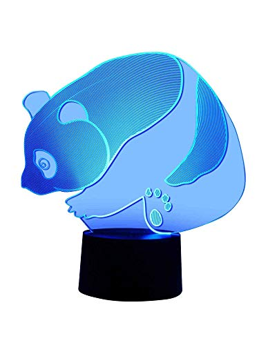 Lampe LED originale 3D à changement de couleur - Lampe de table - Motif panda et ours