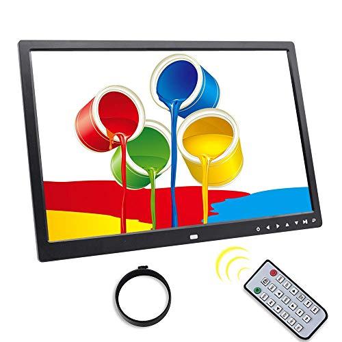 Marco de Fotos Digital Botón táctil de 17 Pulgadas Reproductor de MP3 / MP4 Álbum electrónico HDMI HD 1080P Pantalla de Montaje en Pared Reproductor de Publicidad en Video, Negro