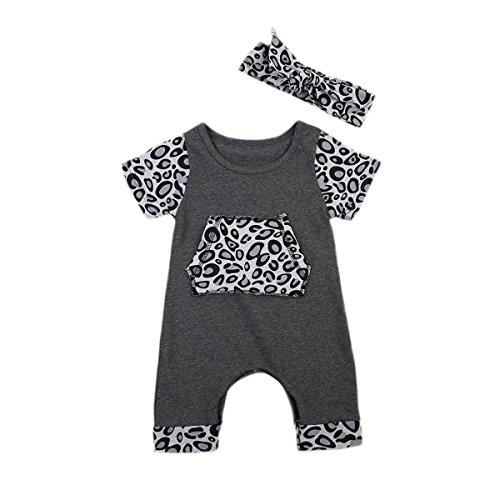 Springcmy Mono de una pieza para bebé recién nacido, estampado de leopardo de manga corta con banda para el cabello