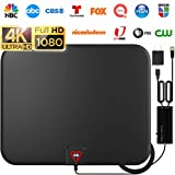 GESOBYTE Amplified HD Digital TV Antenna Long 200+ Miles Range - Support 4K 1080p Fire tv Stick and All Older TV's - Indoor Smart Switch Amplifier Signal Booster - 18ft Coax HDTV Cable/AC Adapter