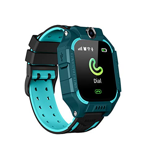 Rabusion Practical For Q19 Smart Watch For Kids Children Smartwatches Positioning Touch Screen Camera English Version Deep Swimming Grade Waterproof green