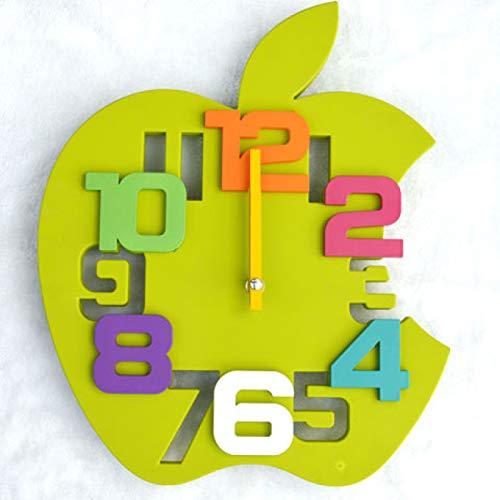 yage Reloj de Pared Creativo de Apple Sala de Estar silenciosa Habitación de los niños Reloj de Pared de jardín de Infantes Hogar