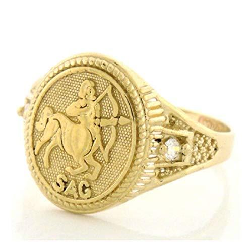 10k Solid Yellow Gold Zodiac CZ Ring - Sagittarius (Style# 1946) -...