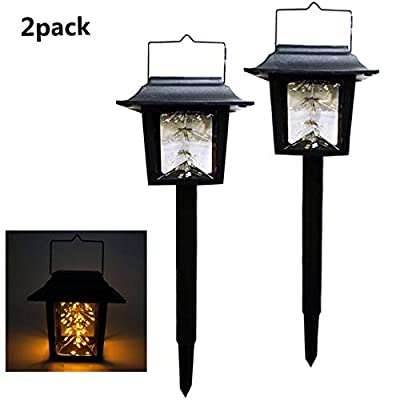 Garden Solar Stake Lights Outdoor Solar Pathway Lights Waterproof Solar Landscape Lights for Garden, Path, Yard, Patio, Driveway, Walkway, Lawn - 2 Pack?Warm White)