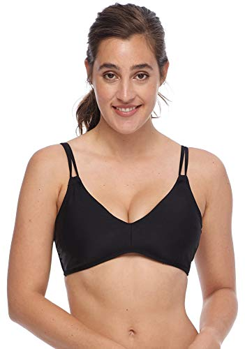 Body Glove Women's Pezie Solid Underwire D, DD Cup Bikini Top Swimsuit, Smoothies Black, L/XL