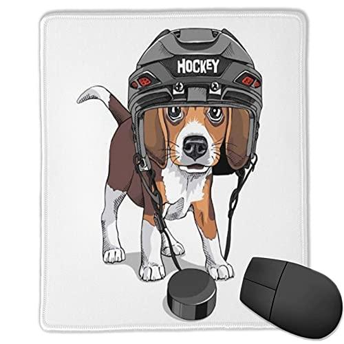 VINISATH Alfombrilla Raton Puppy Beagle Hockey sobre Hielo Portero Casco Raza Animales Vida Silvestre Deportes Recreación Divertida Alfombrilla Gaming Alfombrilla para computadora,250×300×3mm