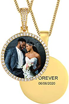 TUHE Custom Picture Necklace Personalized Hip Hop Iced Out Round Pendant Photo Necklace for Men Women Memory Chain Necklace Customized with Text Engraving & Picture Necklaces