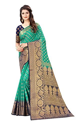 satyam weaves women's ethnic wear banarasi jacquard cotton silk saree. (Yukti)