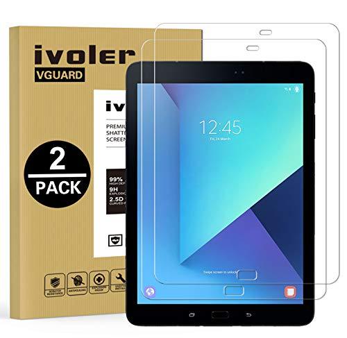 ivoler Kompatibel für Panzerglas Schutzfolie Samsung Galaxy Tab S3 9.7 Zoll / S2 9.7 Zoll, 9H Festigkeit, Anti- Kratzer, Bläschenfrei, 2.5D R&e Kante, [2 Stücke]