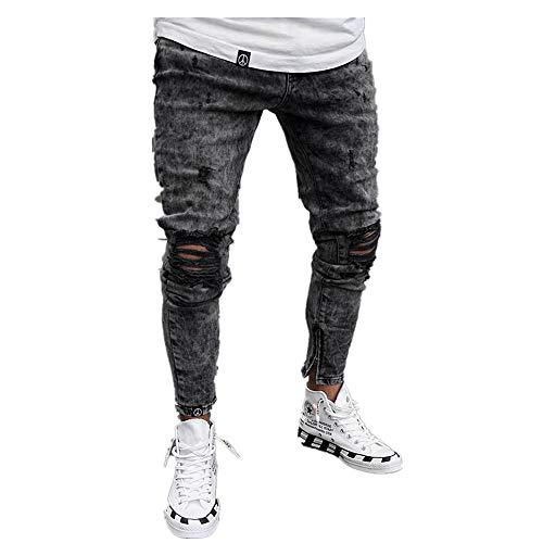 Chickwin Pantalones Vaqueros Hombre Rotos, Skinny Slim Fit Insignia Largos de Mezclilla de Cintura Baja de Pitillo Deportivos Elástico Cremallera Rota Jeans De Bolsillo (L, Negro)