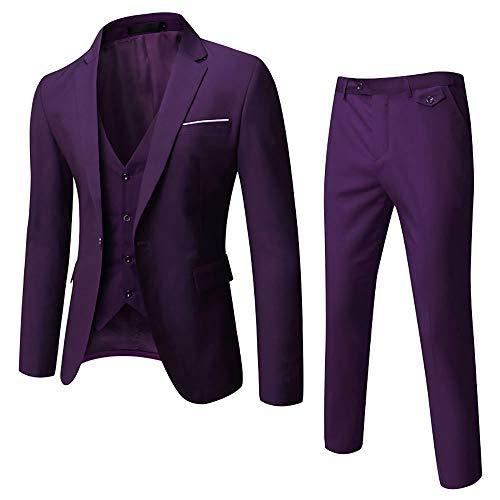 WULFUL Men's Suit Slim Fit One Button 3-Piece Suit Blazer Dress Business Wedding Party Jacket Vest & Pants Purple