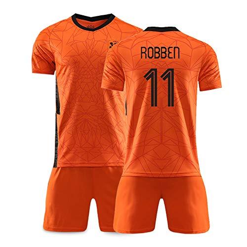 XH Herren Fußbälle Trikot -Set Trainingskleidung Arjen Robben # 11, alle Größen Kinder und Erwachsene (Color : Orange 2, Size : Adults-S)