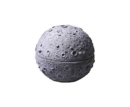 anaan Luna Posacenere con Coperchio Portacenere da Tavolo in Cemento Calcestruzzo per Sigaretta Esterno Casa Piccolo Rotondo Geometrico Disegno Ø 11 cm x 10 cm