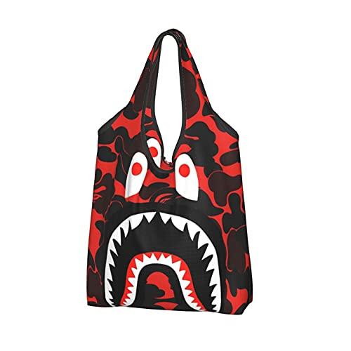 Bolsa de compras reutilizable bolsa de asas plegable bolsa de gran capacidad, 5 dientes de tiburón Bape Camo Rojo Kiska, Talla única