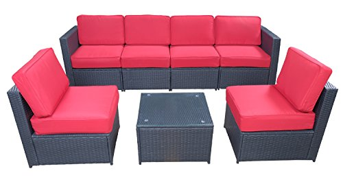 Mcombo Black Patio Furniture Sectional Set Outdoor Wicker Conversation Sofa with 6 Chairs Coffee Table Weather-Resistant Cushion Cover 7PCS (Red)