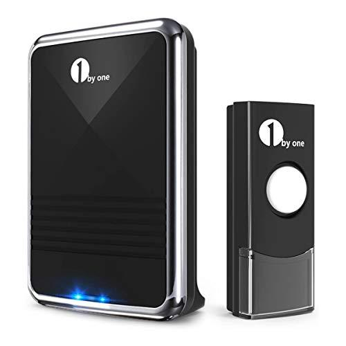 1byone ワイヤレスチャイム 呼び鈴 インターホン ドアベル 玄関チャイム 防水 防塵 最高300M無線範囲 36曲選択可能 3段階音量調節 受信機1個 送信機1個 電池式 ブラック