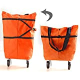 Carre Mark Foldable Wheel Trolley Shopping Bag Portable Cart Folding Home Travel Luggage