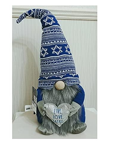 Rae Dunn Live Love Latke Happy Hanukkah Gnome with Jewish Star Hat Shelf Sitter Figurine Doll Home Decor - Jewish Holiday Decoration