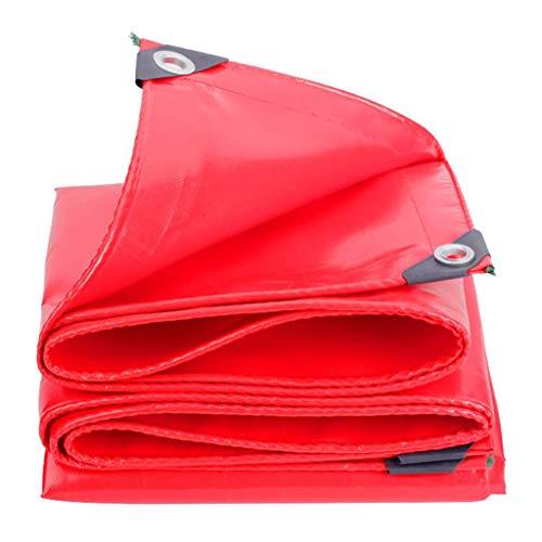 DFREW Heavy Duty PVC Waterproof Tarpaulin Uv Resistant,Moisture Proof, Tear Resistant Tarpaulin with Grommets and Reinforced Edges - 520G/M², Red,3Mx6M,3Mx6M