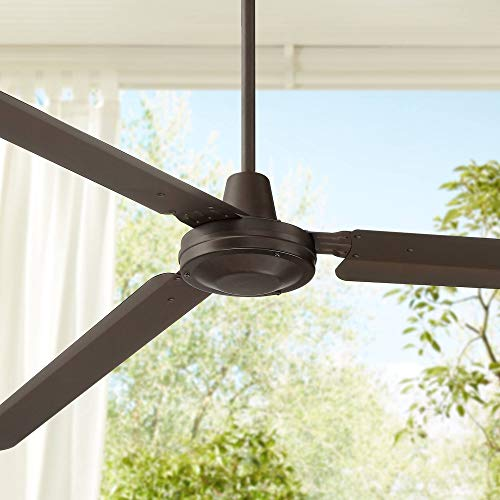 """72"""" Casa Velocity Modern Contemporary Industrial 3 Blade Outdoor Ceiling Fan Oil Rubbed Bronze Brown Metal Damp Rated for Patio Exterior House Porch Gazebo Garage Barn Roof - Casa Vieja"""
