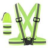 Geldee RV101 Warnweste Fahrrad Reflektorweste Sicherheitsweste mit 2 Stück Reflektorband Reflective Cuffs Gelb Einheitsgröße
