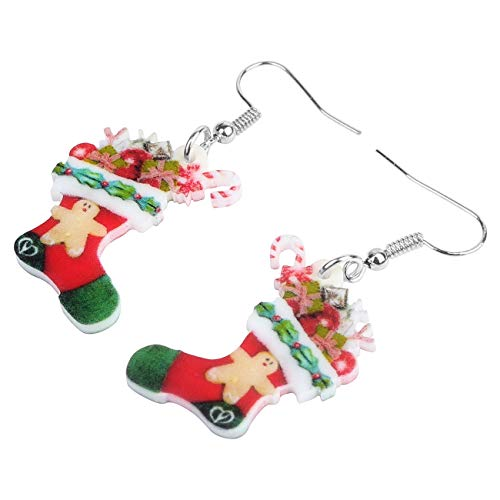ESIVEL Acryl Weihnachten Candy Socke Rohr Ohrringe Drop Dangle Druck Schmuck für Frauen Mädchen Teen Kid Festival Dekoration Geschenk