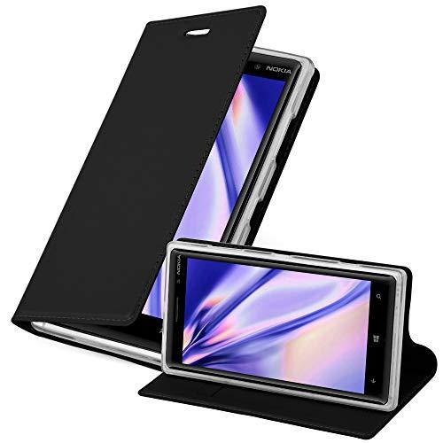 Cadorabo Hülle für Nokia Lumia 830 in Classy SCHWARZ - Handyhülle mit Magnetverschluss, Standfunktion & Kartenfach - Hülle Cover Schutzhülle Etui Tasche Book Klapp Style