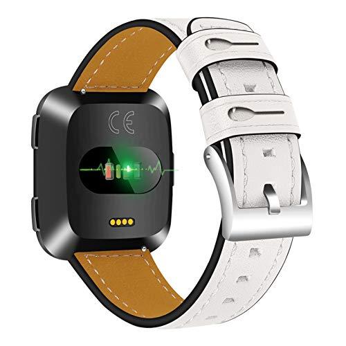 XIALEY Banda De Repuesto De Cuero Compatible con Fitbit Versa 2 / Fitbit Versa/Fitbit Versa Lite, Correa De Reloj Deportivo Pulseras Compatible con Versa,Blanco