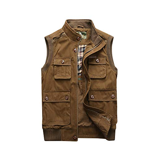 Hooded Faux Leather Jacket Hat Multi-pocket vest stand-up collar-brown_XXL