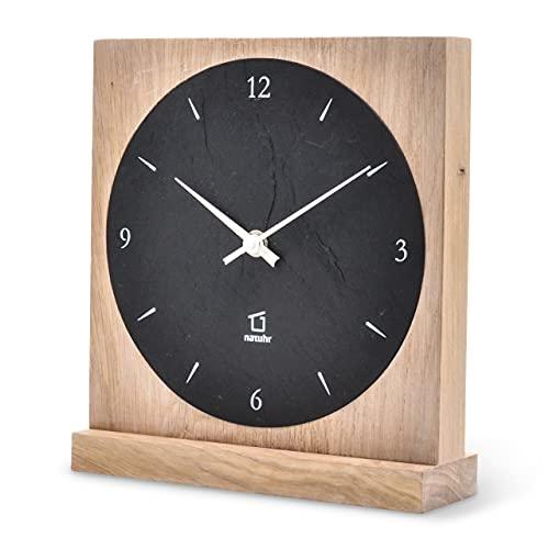 Natuhr Säntis - Reloj de mesa (pizarra, madera maciza de roble, mecanismo radiocontrolado por radio), color negro y roble
