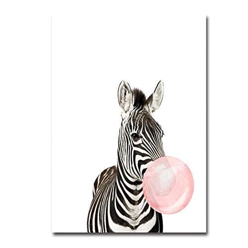 NBHHDH Impresión De Lienzo,Cómic Animales Globo Zebra Patrón, Nórdica,De Pared Minimalista Moderno Arte Imagen De Impresión De Póster Decoracion Sin Marco, para Dormitorios, Salón, Pasillo, Sala I