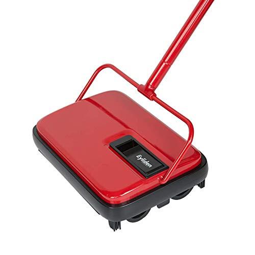 WEIXINMWP Teppichkehrer Reiniger Hand Push-Automatik Besen Home-Office-Teppich Teppich Entstaubung geschredderte Papier mit einem Pinsel,Rot
