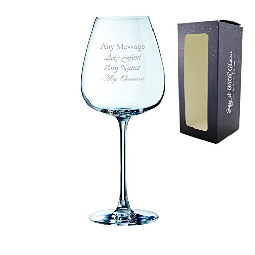 Personalised Engraved Grands Cepages 12.5oz Red Wine Glass with Gift Box -...