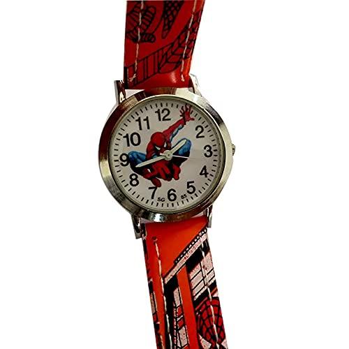 Reloj Niño Yuan Ou Reloj de Dibujos Animados Lindo Reloj para niños Relojes de Regalo para niños Reloj de Cuarzo de Cuero Naranja