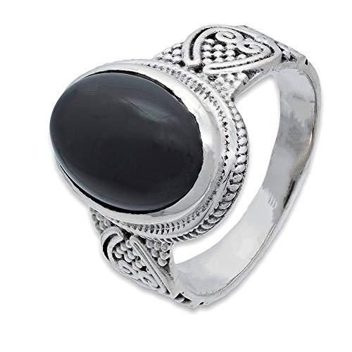 Anillo de plata de ley 925 ónice (No: MRI 228-03), Ringgröße:52 mm/Ø 16.6 mm