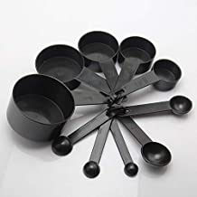 10pcs Black Plastic Measuring Cups Measuring Spoon Cooking Tools Scales Spoons for Baking Coffee Tea Kitchen Gadgets