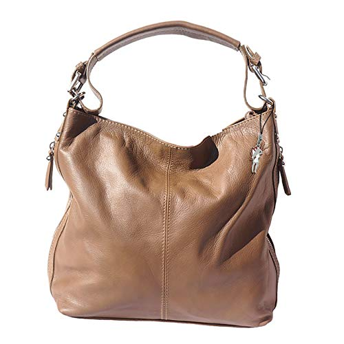 Florence Hobo Bag Echt-Leder Tasche Damen Beuteltasche braun Taupe 35x10x28 inklusive Feenanhänger D1OTF101C Leder Tasche von Florence für die Frau