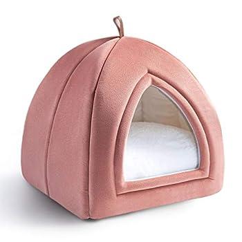 Bedsure Niche Chat Rose 35x35x38cm - Panier Chat 2 en 1 avec Dômes - Coussin Amovible pour Chat ou Petit Chien - Tente/Lit/Maison Pliable pour Animaux de Compagnie