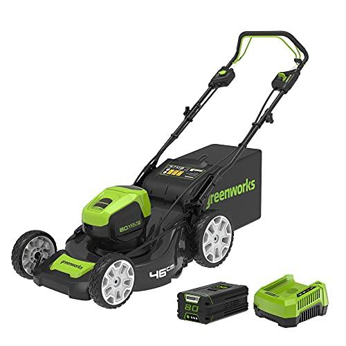 Greenworks Pro 80V 46cm Brushless Cortacésped Inalámbrico, Autopropulsado, Altura de Corte 25-85 mm, Mango Plegable, Almacenamiento Vertical, con Bolsa de 55 L (con 4Ah Batería y Cargador)