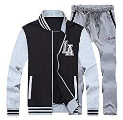 DUee Mens Oversized Stitch Contrast Color Stand Collar Zipper Tracksuit Set