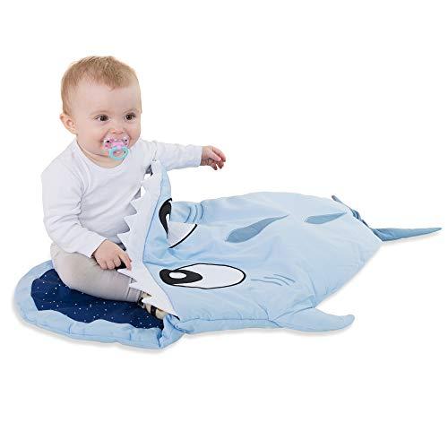 all Kids United Kinder-Schlafsack aus Baumwolle Strampler Fußsack, Kinderwagen Pucksack, Baby-Schlafsack Wintersack für Mädchen und Jungen 85 x 70 x 6 cm - Hai