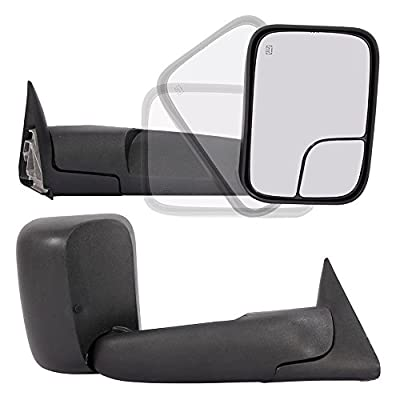 Pair Towing Mirrors Fit For 1998-2001 Dodge Ram 1500 1998-2002 Dodge Ram 2500 3500 Truck Power Heated Flip Up Extendable Side Tow Mirrors with Support Brackets