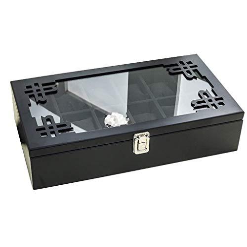 LY88 LY88 Retro Uhr Aufbewahrungsbox 12 Grid Holz Uhrengehäuse für Männer/Frauen mit Glasdeckel Schloss Schmuck Armband Display Kollektion Dekoration, Schwarz